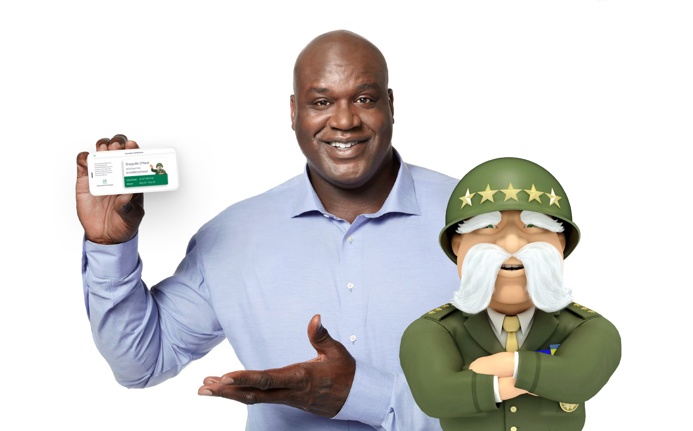 Shaq Smiling with The General and mobile app