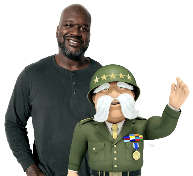 The General Car Insurance Homepage - Shaq and The General character smiling, waving.