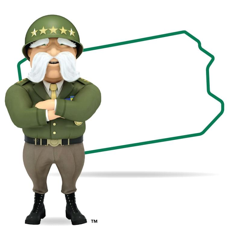 Graphic of The General standing in front of Pennsylvania with his arms crossed and a smile. Get a quote for Pennsylvania car insurance today!